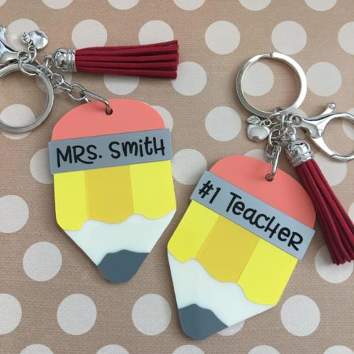 Two sided #1 teacher pencil keychain by zoo&roo