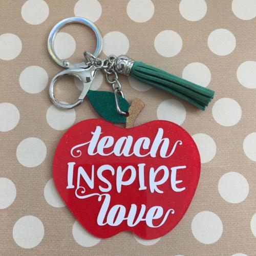 teach inspire love apple keychain by zoo&roo