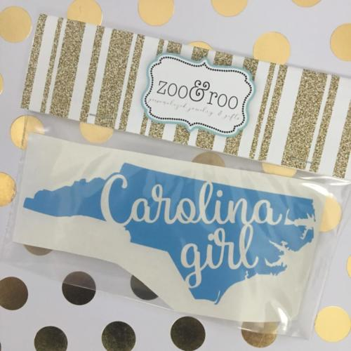 Carolina Girl NC blue decal