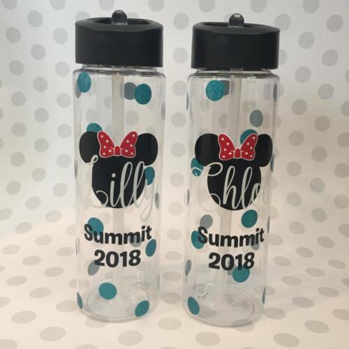 Minnie Summit cheerleading water bottles