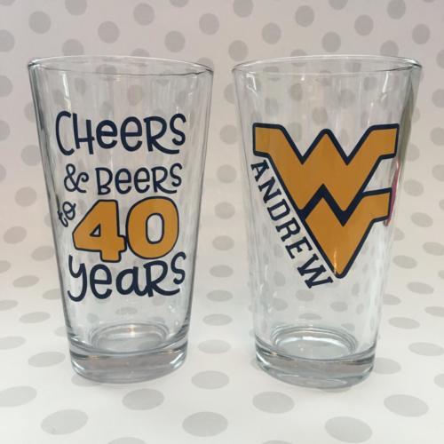WV 40th pint glasses cheers beers
