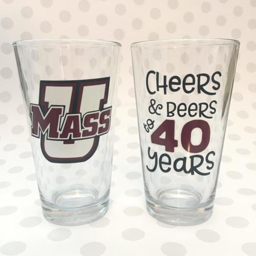 U Mass 40th pint glasses cheers beers