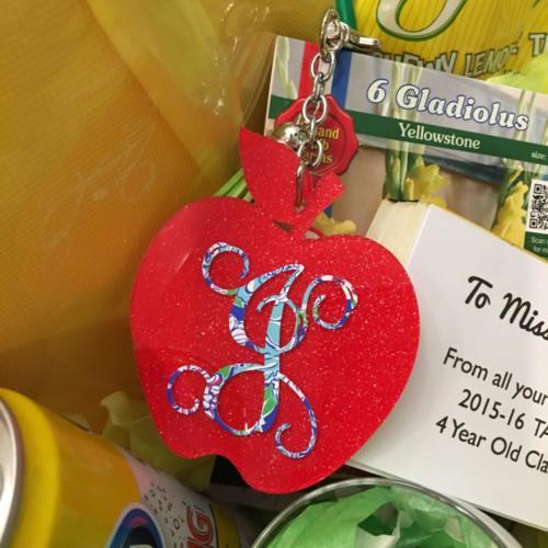 glitter apple keychain