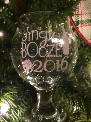 Jingle booze custom beer glass