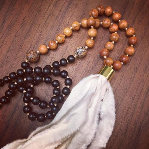 wood bead tassel necklace feather
