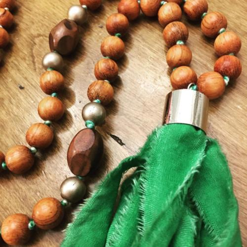 wood bead necklace green