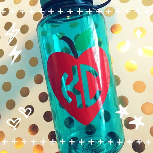 apple heart teacher monogram water bottle