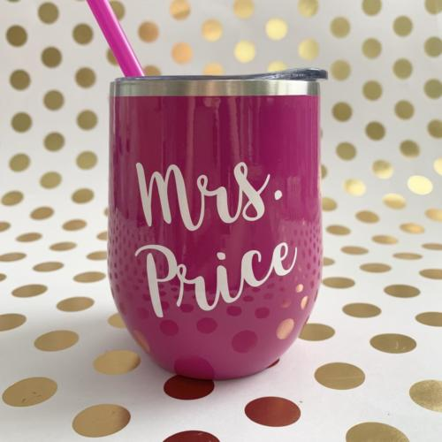 stainless wine tumbler with teacher's name