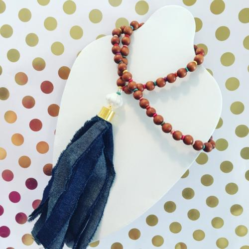 denim and wood bead tassel necklace