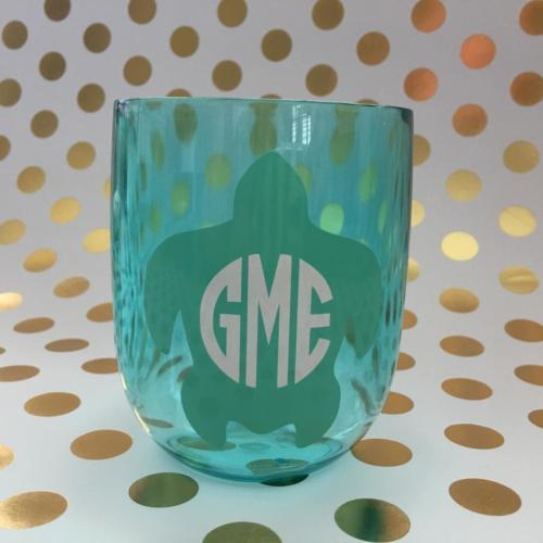 turtle monogram wine glass