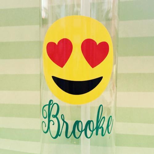 heart eye emoji water bottle