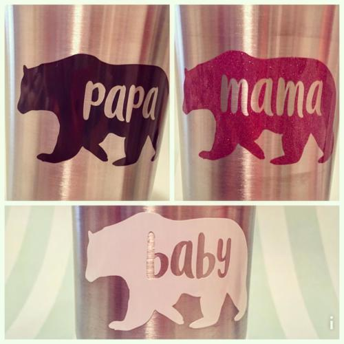 papa mama baby bear decals