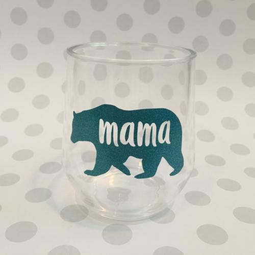 mama bear wine glass