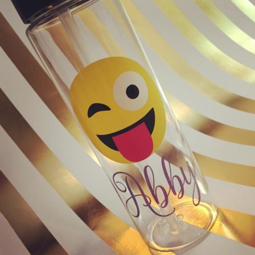 Winking Tongue out emoji water bottle