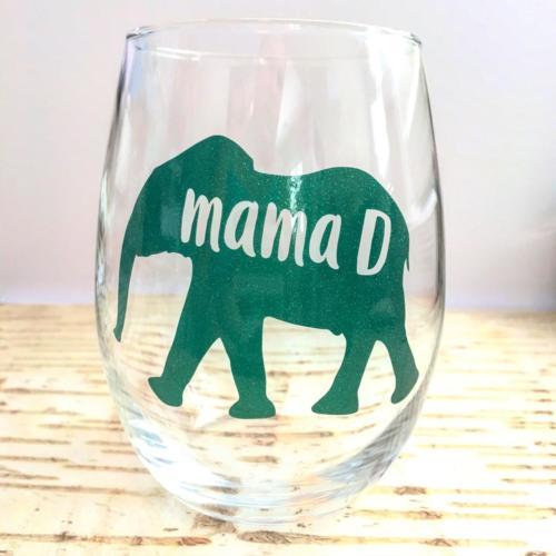 mama D elephant wine glass