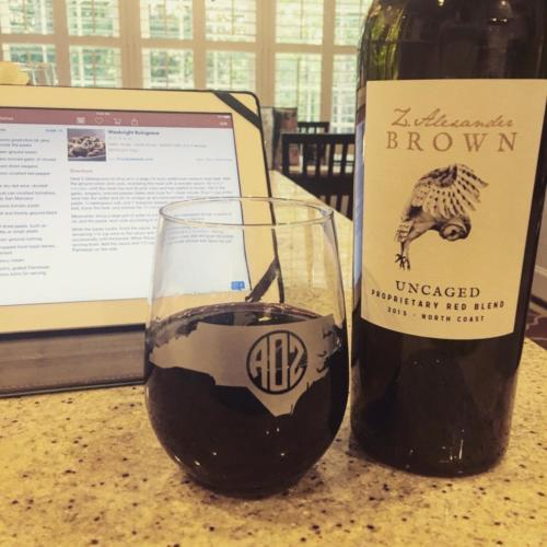 NC monogram wine glass