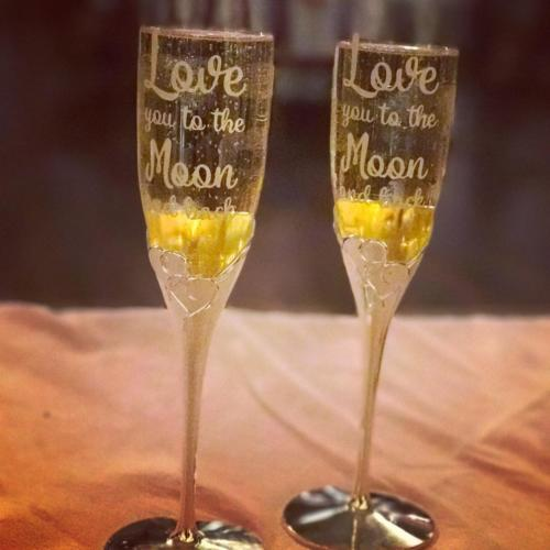 Love you to the moon and back custom champagne flutes glasses