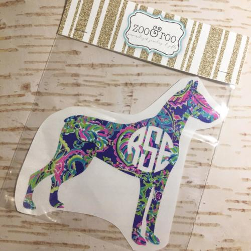 custom dog breed monogram decal doberman Lilly inspired
