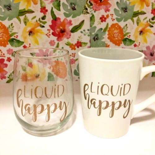 liquid happy wine glass & mug