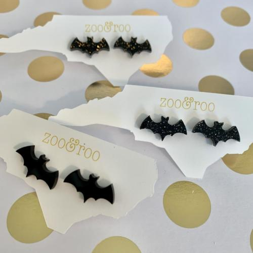 black bat acrylic stud earrings
