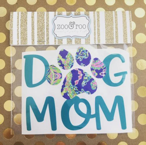 Dog Mom vinyl decal paw print Lilly inspired