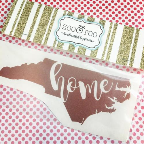 NC home rose gold glitter vinyl decal