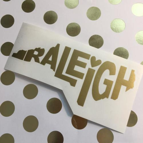 Raleigh NC decal gold
