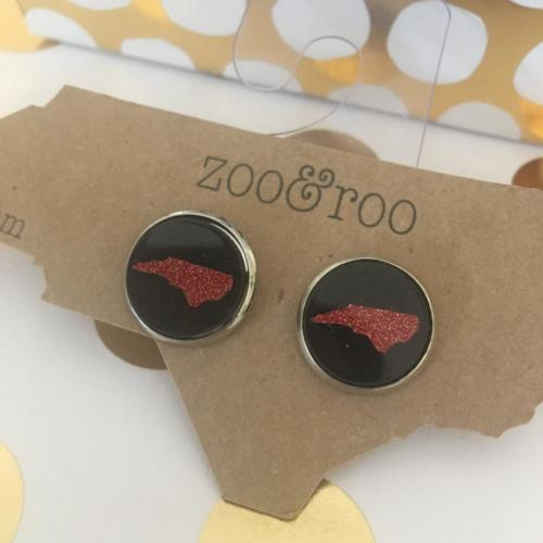 black earrings with red glitter NC