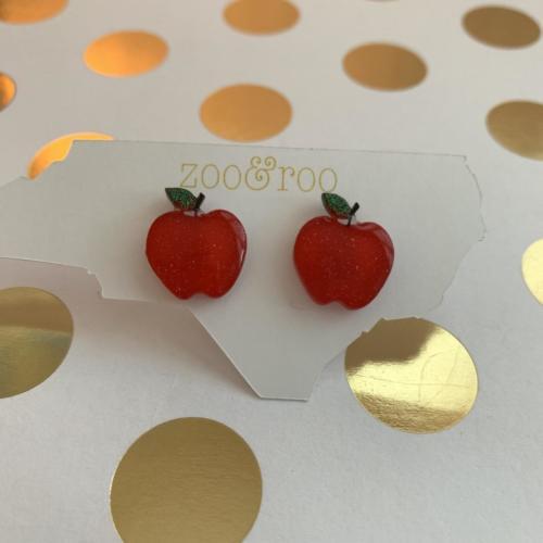 apple acrylic earrings by zoo&roo