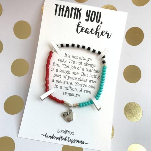 thank you teacher color block bracelet by zoo&roo
