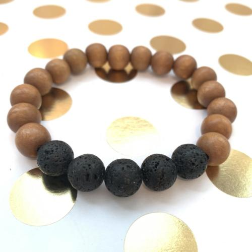 lava and wood bead essential oil diffuser bracelet