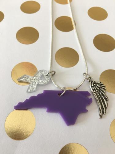 necklace acrylic NC purple angel ribbon