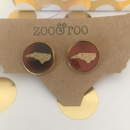 tortoise earrings with gold glitter NC